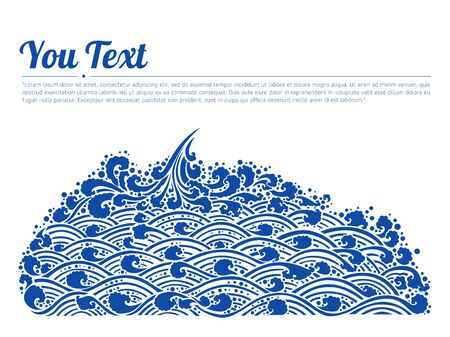 Blue waves of sea Line Thai Art Vector Illustration. Oriental water ornate line vector isolated on non background.