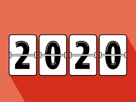 Happy new year 2020 flip clock style. Happy New Year 2020 scoreboard vector illustration. Mechanical clock on digits board panel in flat style. All in a single layer. Vector Illustration. Elements for design.