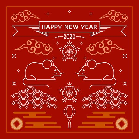 2020 year of rat greeting card template. Cute cartoon rat with Chinese new year. Chinese new year. All in a single layer. Vector illustration. Red background.