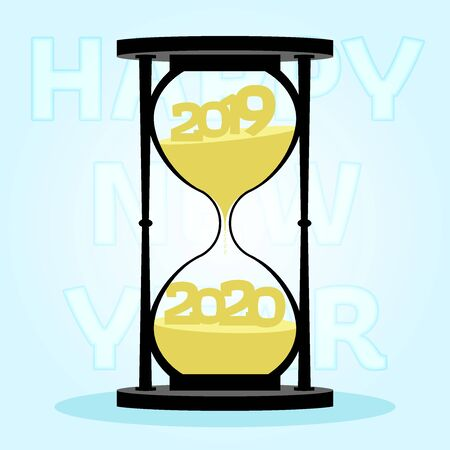 Hourglass New Years Concept. Changes 2019 on 2020 within hourglass on blue background. New year, happy and Christmas concept. Flat design. Vector illustration. 向量圖像