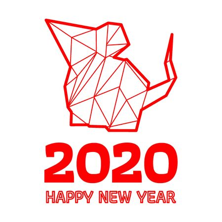 Happy Chinese New Year, Year of the Rat. Polygonal rat design on red background. All in a single layer. Vector illustration.