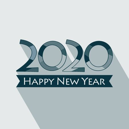 Creative Happy New Year 2020 design. vector illustration for design. All in a single layer. Vector illustration. Happy New Year 2020 on blue background. Stok Fotoğraf - 132180205