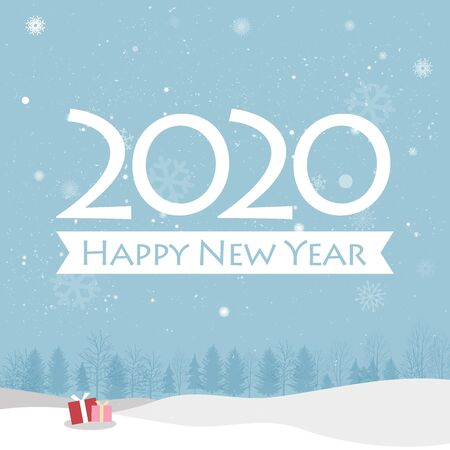 Happy New Yea greeting cards on blue background. Creative happy new year 2020 design. EPS 10 vector illustration for design. All in a single layer. Vector illustration. Reklamní fotografie - 132219068