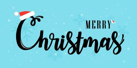Merry Christmas vector text Calligraphic Lettering design card template. Creative typography for Holiday Greeting Gift Poster. Holiday calligraphy for banner poster; greeting card; party invitation Isolated illustration.