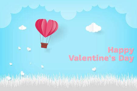 Illustration Love Valentine Day Heart Balloon. Holiday background with paper hearts and clouds. Valentines card with balloon in paper cut style vector illustration.