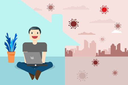 Coronavirus concept. Stay at home during the coronavirus epidemic. Self-isolate from a pandemic. Remote work from home during Quarantine. Vector illustration.