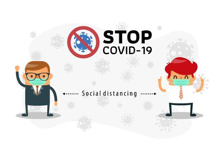 Social distancing. Space between Businessman to avoid spreading COVID-19 Virus. Keep the 1-2 meter distance. Businessman wearing surgical face mask to protect from corona virus diseases COVID-19. Idea for coronavirus outbreak, prevention and awareness. Vector illustration 向量圖像