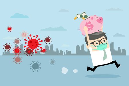 Businessman holding piggy bank running away for COVID - 19. Stock market panic sell from novel corona virus. Stock market panic sell from coronavirus pathogen. Flat cartoon style. Vector Illustration. Ilustração