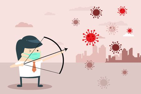 Businessman Character Fight with Coronavirus with Bow and Arrow. Man Archer Aims at Virus. 2019-nCoV Covid-19 Virus Protection. Flat cartoon style. Vector Illustration.