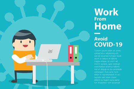 Illustrations concept coronavirus COVID-19. The company allows employees to work from home to avoid viruses. Vector illustrate. 向量圖像