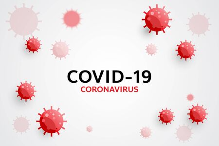Coronavirus disease COVID-19 infection medical with typography and copy space. Inscription COVID-19 on white background. Covid-19 pandemic global warning, red coronavirus symbol and icon vector illustration. Illustration