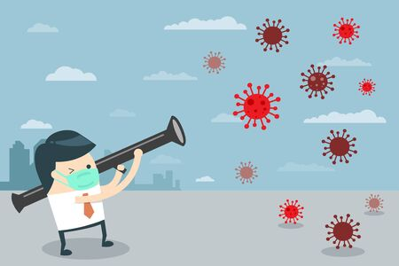 Businessman Character Fight with Coronavirus with Bazooka. Man Archer Aims at Virus. 2019-nCoV Covid-19 Virus Protection. Flat cartoon style. Vector Illustration.
