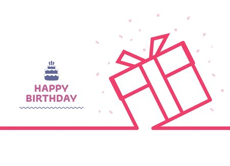 Minimal line Gift background. Gift box continuous line drawing, vector illustration. Vector illustration. Happy Birthday card with line style.