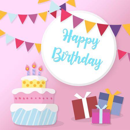 Happy Birthday greeting card. Birthday card in paper cut style vector illustration. Birthday cake. Colorful birthday. Vector Illustration. 向量圖像