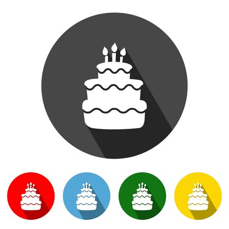 Birthday Cake icon vector illustration design element with four color variations. Birthday Cake Icon with Long Shadow. Birthday Cake Icon flat design. Vector illustration. All in a single layer. Elements for design. Illustration