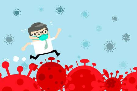 Businessman running over the corona virus. Stock market panic sell from novel corona virus. Businessman runs over the situation, Covid-19. Flat cartoon style. Vector Illustration. 向量圖像
