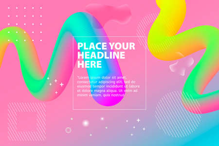 Abstract 3d Gradient Background with Colorful Liquid. Modern colorful flow poster. Wave Liquid shape in color background. Art design for your design project. Vector illustration. Illusztráció