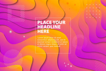 Modern Abstract Wave Paper Cut Fluid Liquid Background. Dynamical colored forms and waves. Gradient abstract banner with flowing liquid shapes. Template for the design of a website landing page or background.