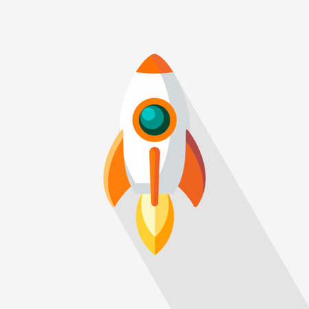Rocket Icon Vector flat design. Rocket icon with a long shadow conceptual of start ups or take off of a business or project. Vector illustration. Elements for design.