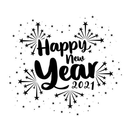 Happy New Year Lettering. Happy New Year 2021 banner design vector. Holiday Vector Illustration With Lettering Composition And Burst. Vintage festive label. firework Illusztráció