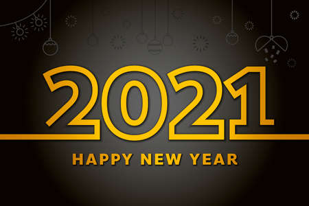 Luxury 2021 Happy New Year elegant design. Golden design for Christmas and New Year 2021 greeting cards. Decoration illustration on dark background.