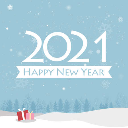 Happy New Yea greeting cards on blue background. Creative happy new year 2021 design. EPS 10 vector illustration for design. All in a single layer. Vector illustration.