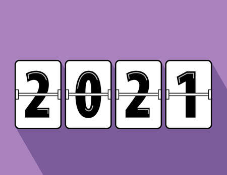 Happy new year 2021 flip clock style. Happy New Year 2021 scoreboard vector illustration. Mechanical clock on digits board panel in flat style. All in a single layer. Vector Illustartion. Elements for design. Illusztráció