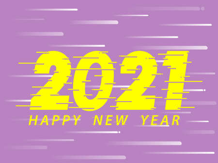 Happy New Year 2021 Yellow text design. Dynamic vector unusual number. Speed moving greeting. Purple Background. Speed style font. vector illustration.  イラスト・ベクター素材