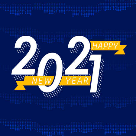 Happy new year 2021 on dark blue background,Holiday greeting card.  EPS 10 vector illustration for design. All in a single layer. Vector illustration.