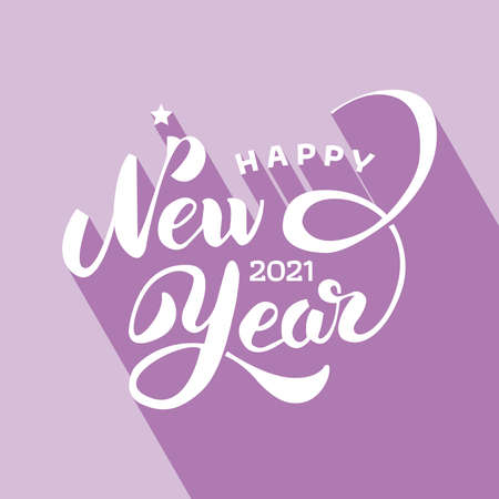 Creative happy new year 2021 design. Happy New Year 2021 on Purple background.   vector illustration for design. Lettering with Long Shadow. All in a single layer. Vector illustration. Illusztráció