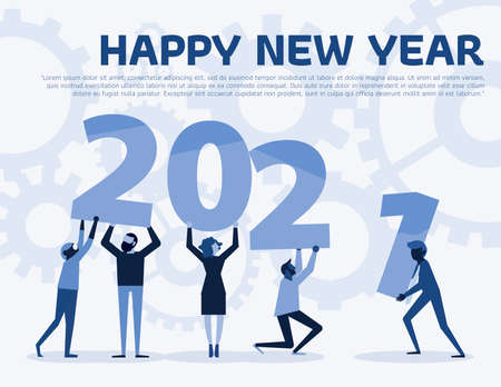 Happy new year 2021 text hold by team in flat style design illustration. new year 2021 illustration on blue background. Creative concept. Vector illustration. Teamwork graphic design. Illusztráció