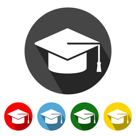 Graduation Cap Flat Style Icon with Long Shadow. Graduation Cap icon vector illustration design element with four color variations. All in a single layer. Elements for design. 向量圖像