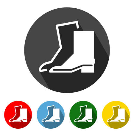 Wear Safety Footwear Flat Style Icon with Long Shadow. Boot icon vector illustration design element with four color variations. All in a single layer. Elements for design.
