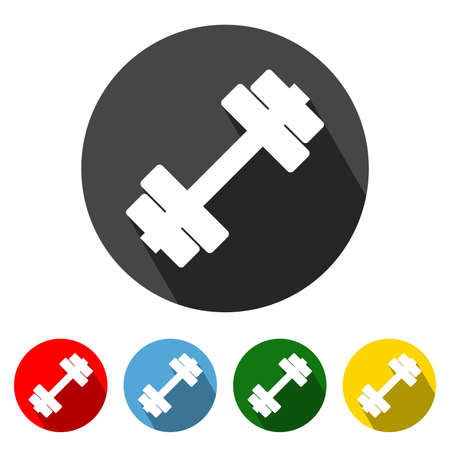 Fitness Flat Style Icon with Long Shadow. Fitness icon vector illustration design element with four color variations. Dumbbell icon with long shadow. Symbol of Gym and Fitness. All in a single layer. Elements for design.