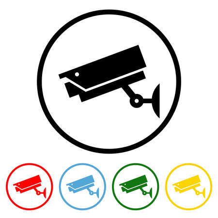 CCTV icon vector illustration design element with four color variations. Vector illustration. All in a single layer. Elements for design. 向量圖像