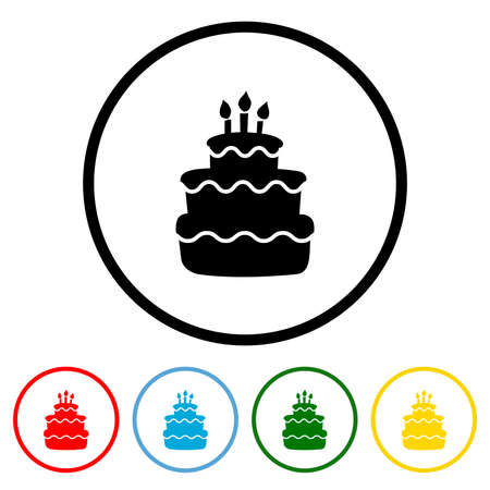 Birthday Cake icon vector illustration design element with four color variations. Vector illustration. All in a single layer. Elements for design. 向量圖像