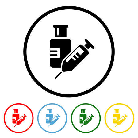 Vaccine icon vector illustration design element with four color variations. Vector illustration. All in a single layer. Elements for design.