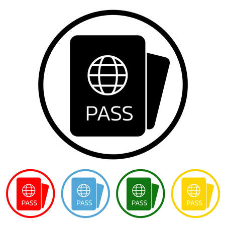 Passport icon vector illustration design element with four color variations. Vector illustration. All in a single layer. Elements for design. Passport Icon flat design.