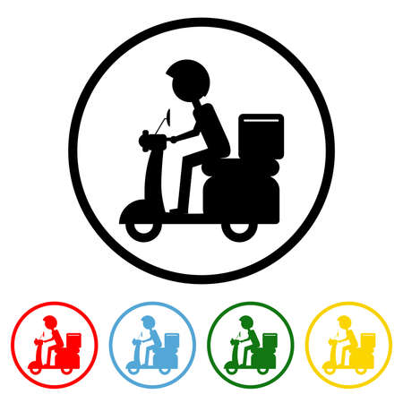 Food Delivery icon vector illustration design element with four color variations. Vector illustration. All in a single layer. Elements for design. 向量圖像