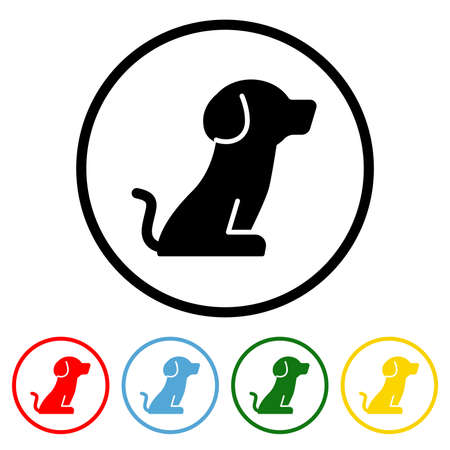 Dog icon vector illustration design element with four color variations. Vector illustration. All in a single layer. Elements for design. Dog Icon flat design.