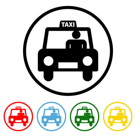 Taxi icon vector illustration design element with four color variations. Vector illustration. All in a single layer. Elements for design. Taxi Icon flat design.