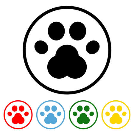 Paw icon vector illustration design element with four color variations. Vector illustration. All in a single layer. Elements for design. Paw Icon flat design.