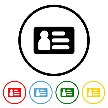 ID Card icon vector illustration design element with four color variations. Vector illustration. All in a single layer. Elements for design. ID Card Icon flat design.