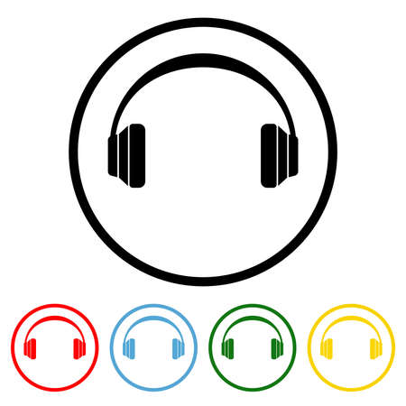 Headphone icon vector illustration design element with four color variations. Vector illustration. All in a single layer. Elements for design. Headphone Icon flat design.