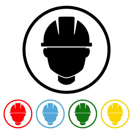 Safety Helmet icon vector illustration design element with four color variations. Vector illustration. All in a single layer. Elements for design. Safety Helmet Icon flat design.