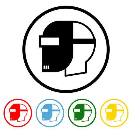 Safety Helmet icon vector illustration design element with four color variations. Vector illustration. All in a single layer. Elements for design. Welding Mask Icon flat design.