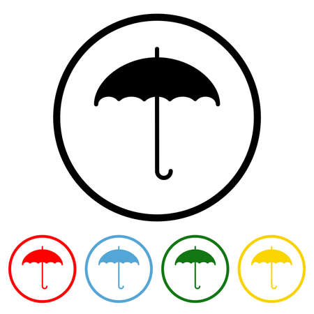 Umbrella icon vector illustration design element with four color variations. Vector illustration. All in a single layer. Elements for design. Umbrella Icon flat design.