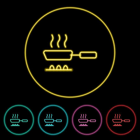 Cooking icon vector illustration design element with four color variations. Cooking Icon Neon Style. Cooking Icon flat design. Vector illustration. All in a single layer. Elements for design. 向量圖像