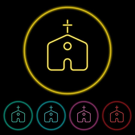 Church icon vector illustration design element with four color variations. Church Icon Neon Style. Church Icon flat design. Vector illustration. All in a single layer. Elements for design.