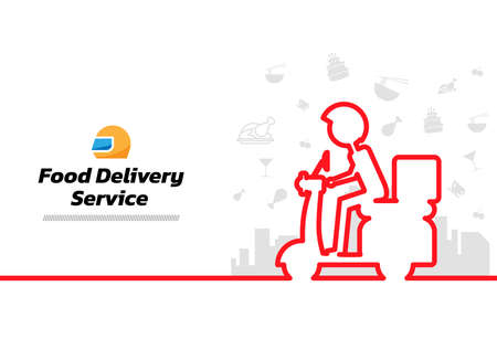 Minimal line Food background. Food Delivery continuous line drawing, vector illustration. Vector illustration. Food Delivery Service Banner.